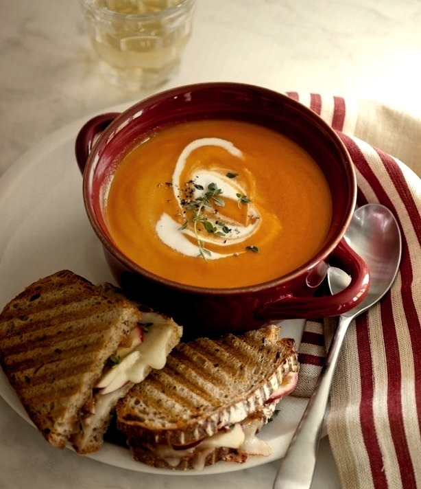 Apple and Cheddar Panini with Onion Jam with Carrot Soup