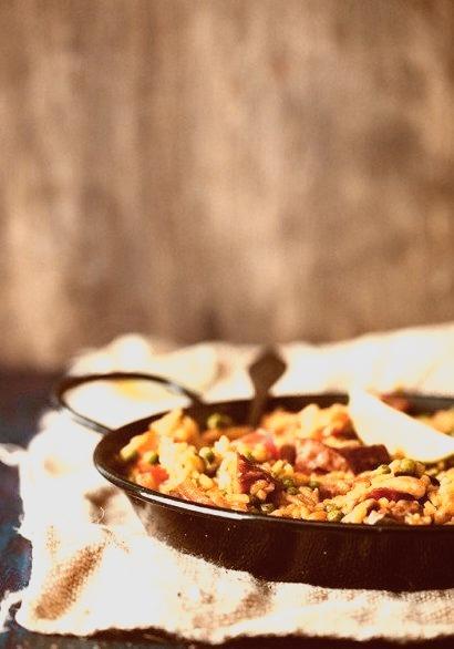 Paella With Veggies, Chicken and Chorizo