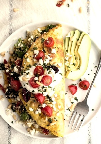 Mad Greek Quinoa Dinner Omelets with Feta and Tzatziki Half Baked Harvest on We Heart It.