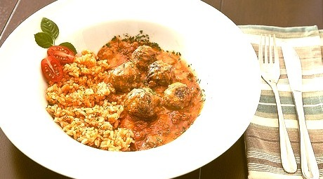 Vegetarian Meatballs with Rice
