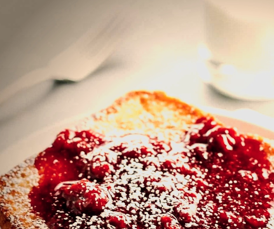 Eggnog French Toast with Raspberry Sauce