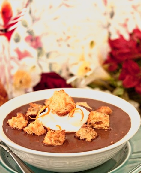 Chocolate Soup With Croissant CroutonsSource
