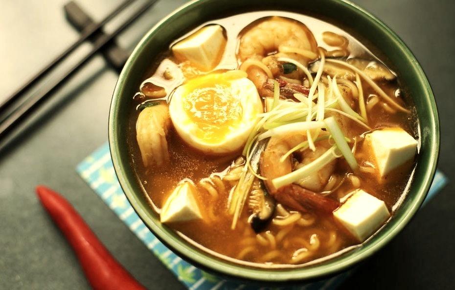 Spicy Tofu and Prawn Ramen
