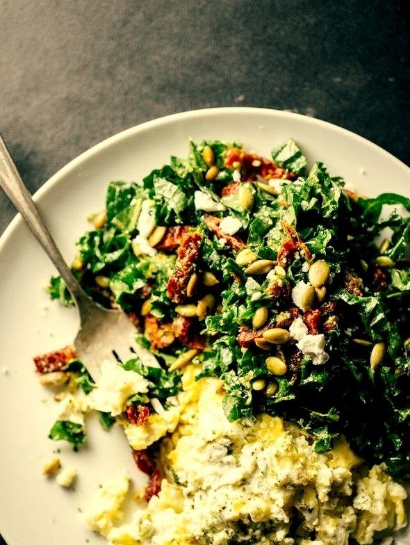 Goat Cheese Scrambled Eggs with Pesto Veggies (via http